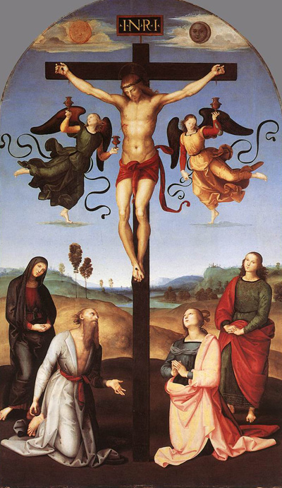 Christ on Cross, flanked by angels, people at his feet